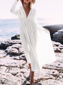 White Lace Drawstring Long Sleeve Beach Maxi Dress Bikini Cover Up