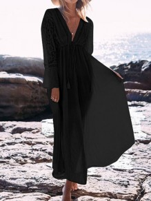 Black Lace Drawstring Long Sleeve Beach Maxi Dress Bikini Cover Up