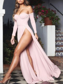 Pink Off Shoulder Thigh High Side Slits Prom Evening Party Maxi Dress