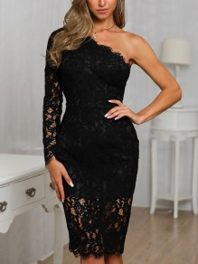 Black Patchwork Lace Asymmetric Shoulder Bodycon Prom Evening Party Maxi Dress