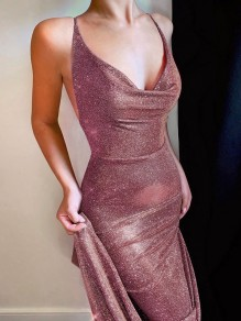 Burgundy Bright Wire Bright Wire Backless Bodycon Party Maxi Dress