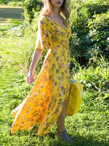 Yellow Floral Pattern V-neck Elbow Sleeve Fashion Maxi Dress