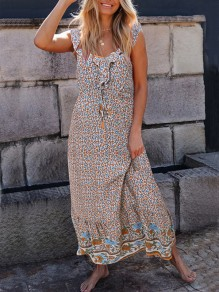 White Floral Ruffle Drawstring V-neck Sleeveless Bohemian Maxi Dress