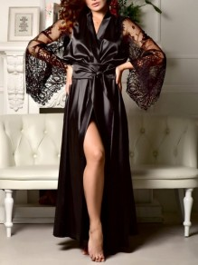 Black Lace Sashe Slit V-neck Elegant Satin Pajamas Robe