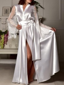 White Lace Sashe Slit V-neck Elegant Satin Pajamas Robe