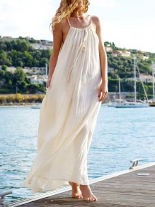 White Spaghetti Strap Backless Round Neck Beach Maxi Dress