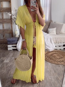 Yellow Lace Drawstring Slit V-neck Elbow Sleeve Bohemian Pajamas Maxi Dress