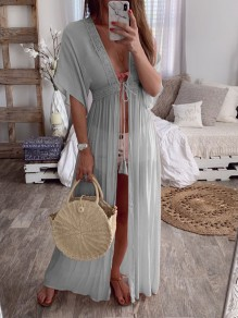 Grey Lace Drawstring Slit V-neck Elbow Sleeve Bohemian Pajamas Maxi Dress