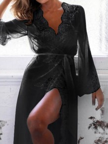 Black Lace Sashes V-neck Long Sleeve Elegant Pajamas Maxi Dress