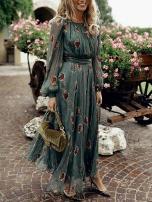 Green Floral Pleated Round Neck Long Sleeve Chiffon Maxi Dress