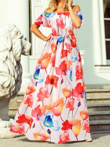 White Floral Bow Boat Neck Short Sleeve Elegant Maxi Dress