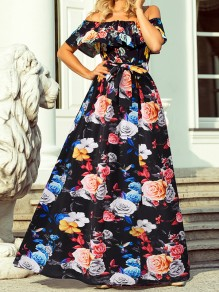 Black Floral Bow Boat Neck Short Sleeve Elegant Maxi Dress