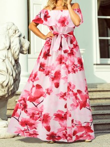Red Floral Bow Boat Neck Short Sleeve Elegant Maxi Dress