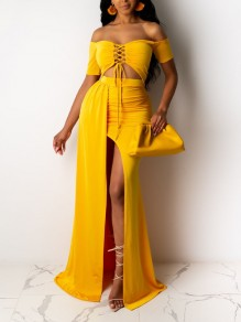 Yellow Off Shoulder Lace-up Cut Out Side Slits Mermaid Prom Evening Party Maxi Dress