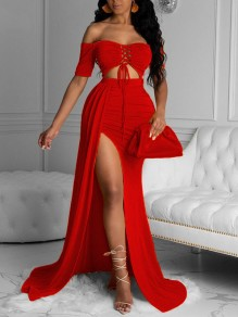 Red Off Shoulder Lace-up Cut Out Side Slits Mermaid Prom Evening Party Maxi Dress