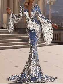 Silver Patchwork Sequin Bell Sleeve Deep V-neck Bodycon Mermaid Sparkly Glitter Birthday Prom Evening Party Maxi Dress
