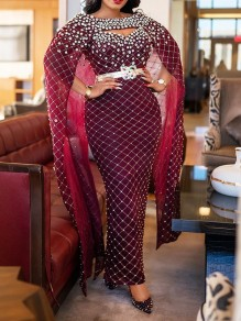 Burgundy Patchwork Rhinestone Bell Sleeve Bodycon Sparkly Glitter Birthday Prom Evening Party Maxi Dress