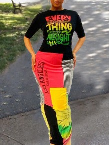 "Black ""EVERYTHING ALRIGHT""Letter Jamaica Print Backless Round Neck Elbow Sleeve Rasta Jamaica Maxi Dress"