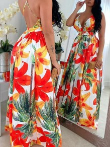 Red Floral Halter Neck Pleated V-neck Backless Bohemian Beach Party Maxi Dress