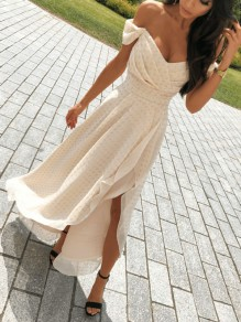 Apricot Off Shoulder Pleated Irregular High-Low Prom Evening Party Maxi Dress
