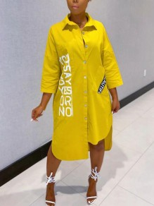 Yellow Monogram Single Breasted Pockets Half Sleeve High-low Casual Blouse Maxi Dress