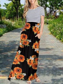 White-Black Striped Sunflower Print Pockets Round Neck Short Sleeve Flowy Maxi Dress