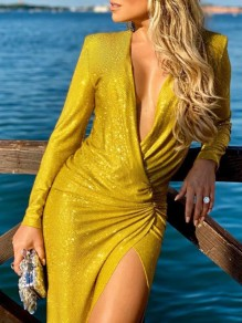 Golden Sequin Print Deep V-neck Long Sleeve Slit Hip Bodycon Glitter Sparkly Birthday Party Prom Maxi Dress