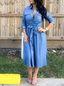 Blue Belt Pockets Buttons Turndown Collar V-neck Long Sleeve Denim Casual Maxi Dress