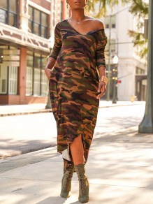 Green Camouflage Print Pockets Irregular Off Shoulder V-neck Long Sleeve Casual High-low Maxi Dress