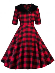 Red-Black Plaid Buttons Fur V-neck Long Sleeve Tutu Christmas Maxi Dress