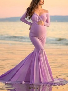Purple Off Shoulder Long Sleeve Mermaid For Babyshower Flowy Maxi Maternity Dress