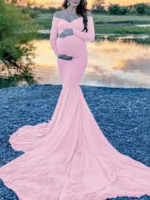 Pink Off Shoulder Long Sleeve Mermaid For Babyshower Flowy Maxi Maternity Dress