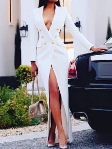 White Pockets Double Breasted Tailored Collar Long Sleeve Work Suit Blazer Maxi Dress