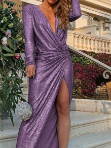 Purple Irregular Sparkly Bodycon V-neck Long Sleeve Elegant Maxi Dress