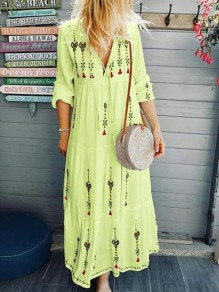 Light Yellow Floral Mexico Embroidered Print Drawstring V-neck Long Sleeve Flowy Bohemian Midsommar Costume Maxi Dress