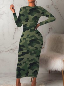 Army Green Camouflage Print Round Neck Long Sleeve Hip Bodycon Maxi Dress