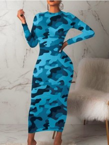 Sky Blue Camouflage Print Round Neck Long Sleeve Hip Bodycon Maxi Dress
