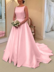 Pink Bow V-Back Sleeveless Mermaid Wedding Gown Prom Maxi Dress