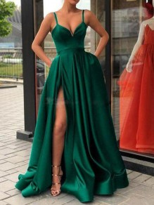 Green Pockets Shoulder-Strap V-neck Sleeveless Slit Big Swing Prom Maxi Dress