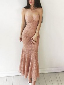 Pink Lace Cut Out Shoulder-Strap V-neck Hip Bodycon Mermaid Prom Maxi Dress