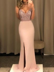 Pink Patchwork Sequin Cut Out Shoulder-Strap V-neck Slit Glitter Sparkly Birthday Party Prom Maxi Dress