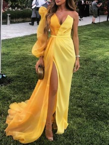 Yellow Patchwork Grenadine V-neck Puff Long Sleeve Slit Flowy Prom Maxi Dress