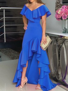 Blue Ruffle V-neck Off Shoulder Short Sleeve High-Low Homecoming Maxi Dress