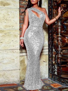 Silver Sequin Cut Out Asymmetric Shoulder Sleeveless Glitter Sparkly Birthday Party Mermaid Prom Maxi Dress