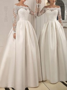 White Patchwork Lace Off Shoulder Pleated Long Sleeve Elegant Wedding Ball Gowns Prom Banquet Maxi Dress