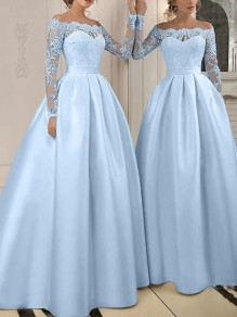 Sky Blue Patchwork Lace Off Shoulder Long Sleeve Elegant Banquet Maxi Dress