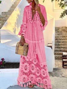 Pink Patchwork Tassel Lace Eyelet Embroidered V-neck Elbow Sleeve Bohemian Flowy Maxi Dress