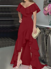 Burgundy Irregular Ruffle Off Shoulder High-low Banquet Party Maxi Dress