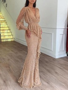Apricot Patchwork Sequin Grenadine V-neck Long Sleeve Glitter Sparkly Birthday Party Prom Maxi Dress