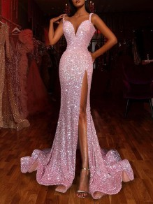 Pink Sequin Shoulder-Strap V-neck Mermaid Slit Glitter Sparkly Birthday Party Prom Maxi Dress